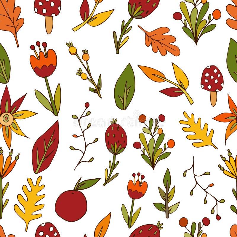 Modelo inconsútil de las ramitas, flores en un fondo blanco Impresión abstracta decorativa del otoño para la tela y otras superfi stock de ilustración