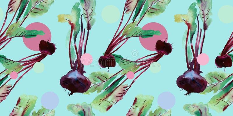 Modelo inconsútil de las remolachas, remolacha con los ejemplos de la acuarela, modelo de la remolacha con las hojas y raíz púrpu libre illustration