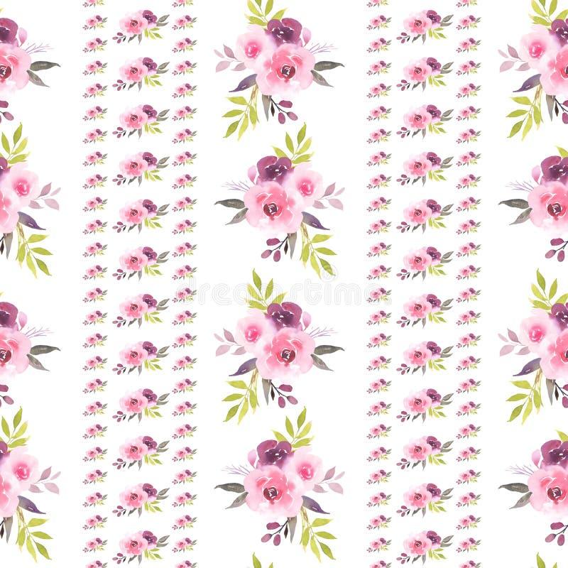 Modelo inconsútil de las rosas de la acuarela rosada del ramo ilustración del vector