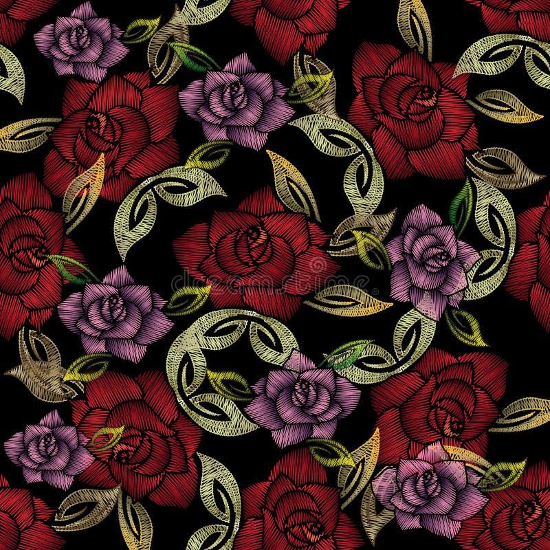 Modelo inconsútil de las rosas del bordado Backgrou adornado floral del vector stock de ilustración