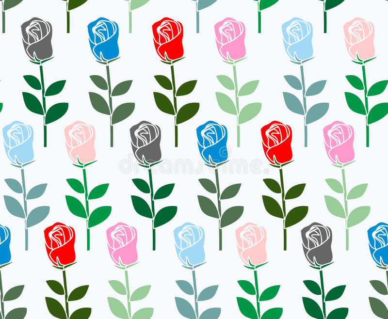 Modelo inconsútil de las rosas multicoloras Fondo de la flor del vector f ilustración del vector
