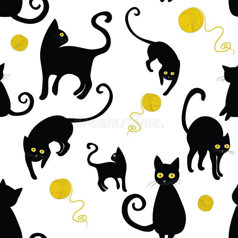 Modelo inconsútil de las siluetas de los gatos negros Vector el ejemplo de gatos con los paños de las lanas en el fondo blanco stock de ilustración