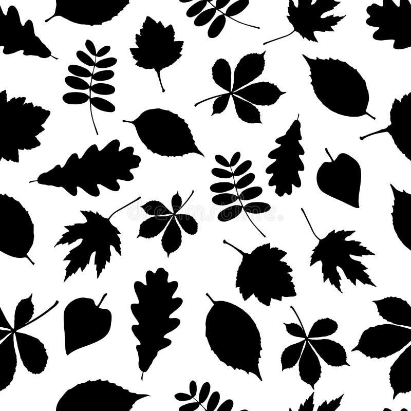 Modelo inconsútil de las siluetas negras de la hoja en el fondo blanco libre illustration