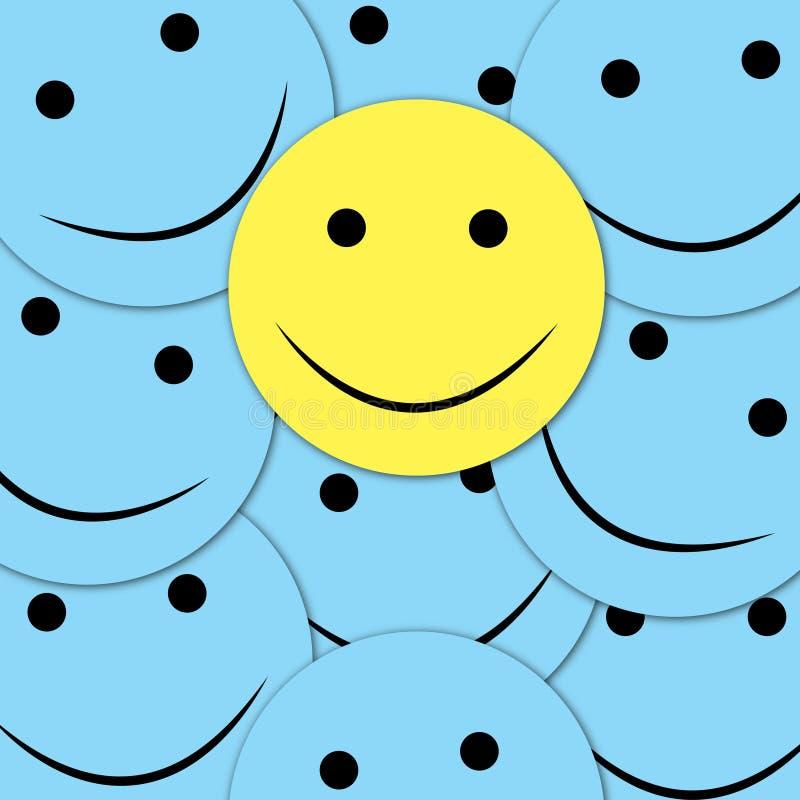 Modelo inconsútil de las sonrisas felices Fondo amarillo del vector del emoji Plantilla de la textura de la cara de las sonrisas stock de ilustración