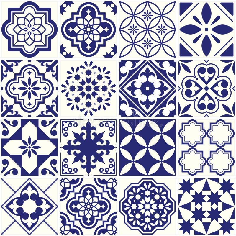 Modelo inconsútil de las tejas, sistema floral mediterráneo del mosaico, Lisboa inconsútil ilustración del vector