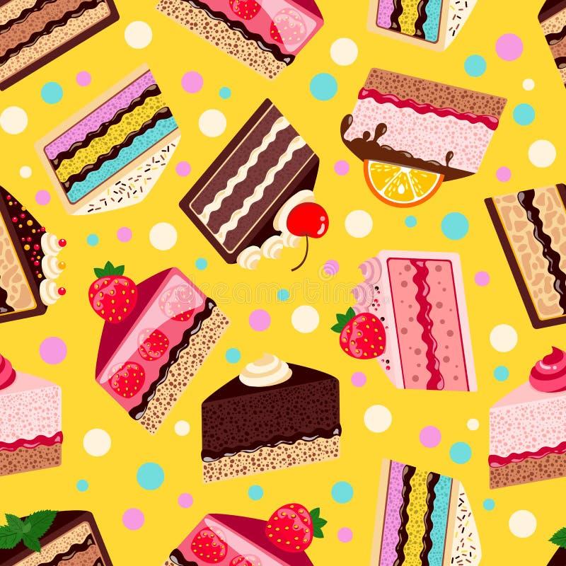 Modelo inconsútil de las tortas cocidas dulce del vector fijadas stock de ilustración