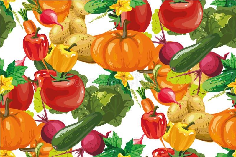 Modelo inconsútil de las verduras del vector Fondo inconsútil de las verduras Comida sana grocery ilustración del vector