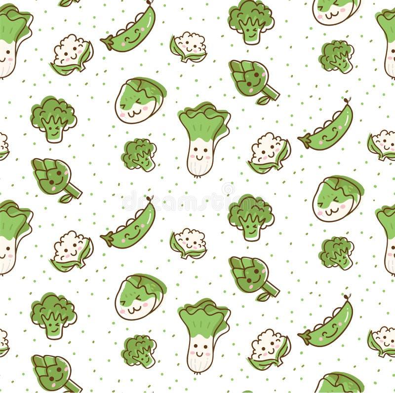 Modelo inconsútil de las verduras lindas en el ejemplo del vector del estilo del garabato del kawaii ilustración del vector