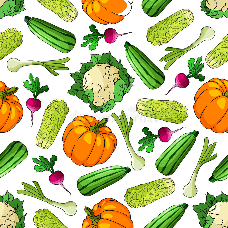 Modelo inconsútil de las verduras maduras de la granja stock de ilustración