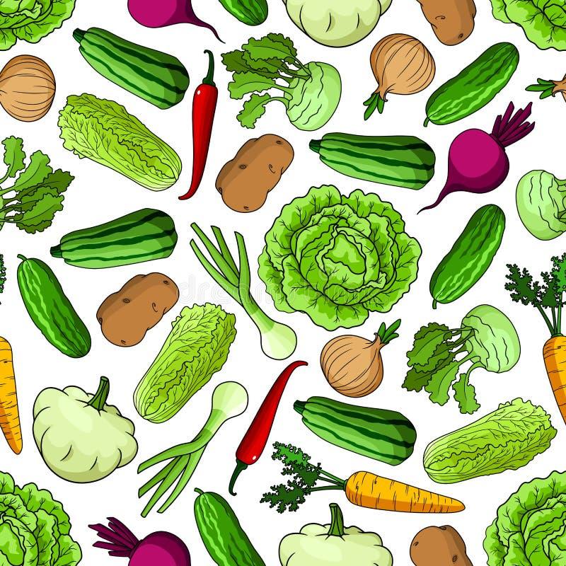 Modelo inconsútil de las verduras para cultivar diseño stock de ilustración