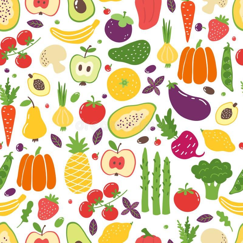 Modelo inconsútil de las verduras planas Frutas coloridas exhaustas de la mano, comida vegetariana natural orgánica Verduras del  ilustración del vector
