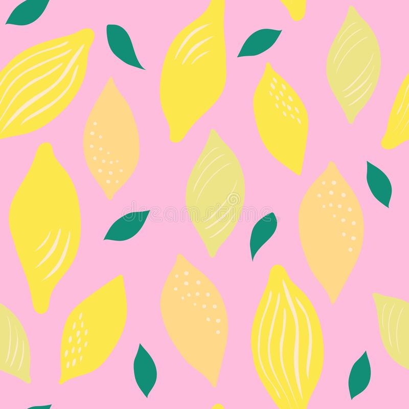 Modelo incons?til de limones amarillos brillantes en un fondo rosado stock de ilustración