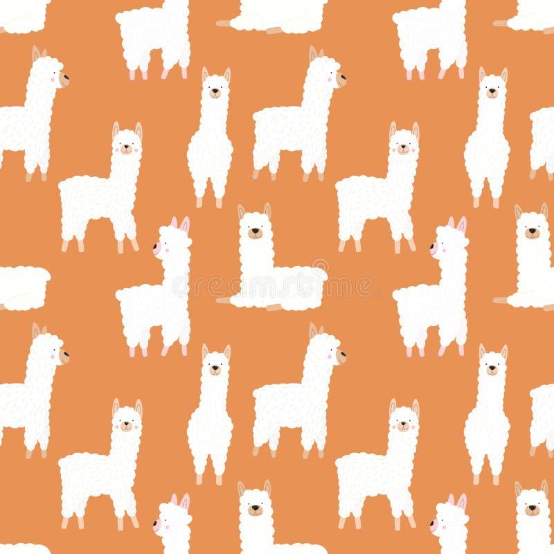 Modelo inconsútil de llamas o de alpacas blancas a mano divertidas en un fondo anaranjado Ejemplo para los niños, sitio, materia  libre illustration