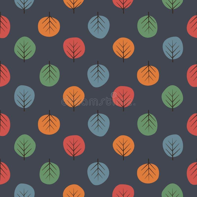 Modelo inconsútil de los árboles lindos Fondo oscuro de la naturaleza con las hojas brillantes libre illustration