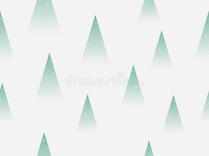 Modelo inconsútil de los árboles de navidad Árbol de abeto del triángulo y copos de nieve, pendiente verde Vector libre illustration