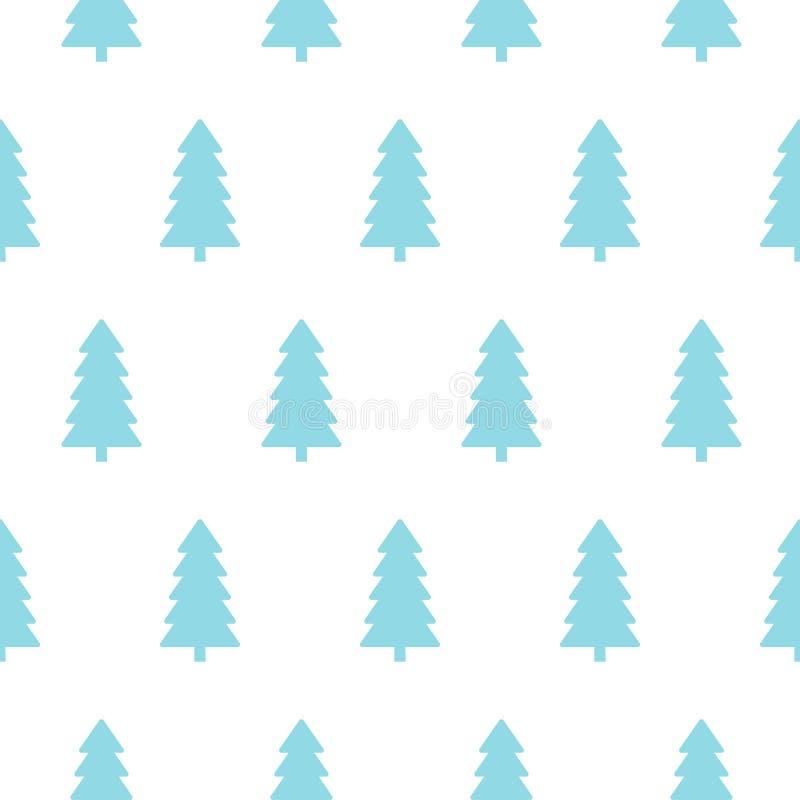 Modelo inconsútil de los árboles de navidad azules Diseño para las materias textiles, empaquetando, bandera Fondo ilustración del vector