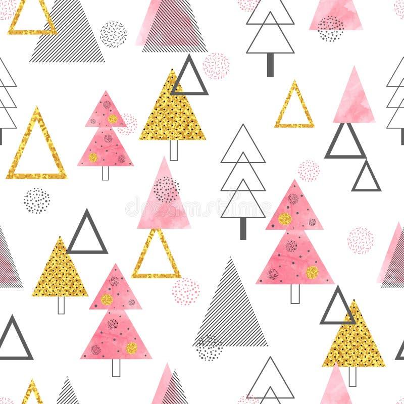 Modelo inconsútil de los árboles de navidad en estilo retro ilustración del vector