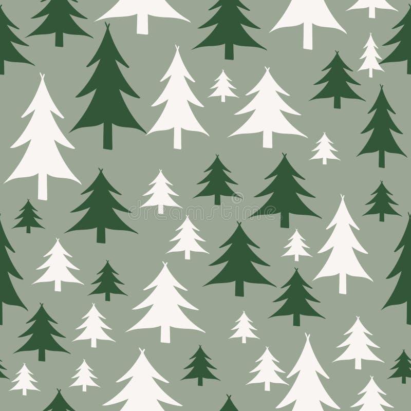Modelo inconsútil de los árboles de navidad verdes y blancos stock de ilustración