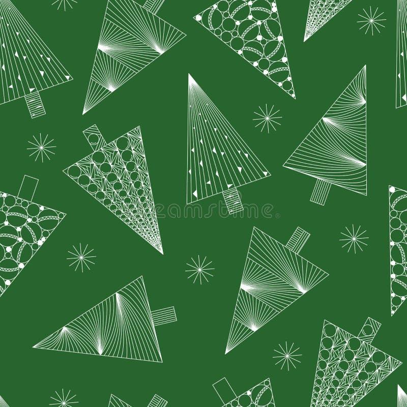 Modelo inconsútil de los árboles de navidad y de los copos de nieve, modelo blanco en fondo verde, zenart del Año Nuevo y de la N libre illustration