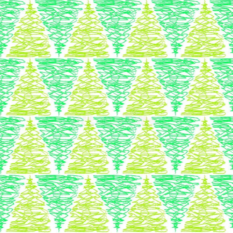 Modelo inconsútil de los árboles verdes del triángulo stock de ilustración