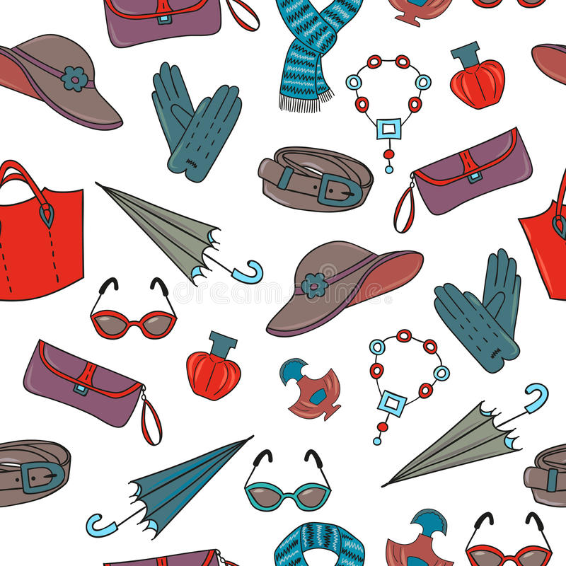Modelo inconsútil de los accesorios de la mujer Fondo de las compras ilustración del vector