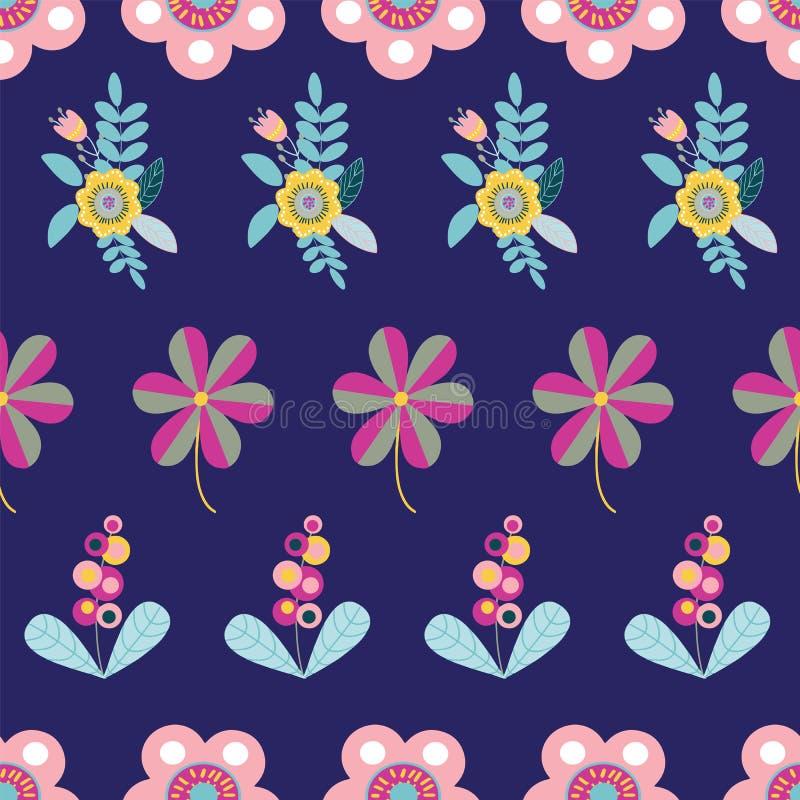 Modelo inconsútil de los adornos florales populares del vector en azul marino libre illustration