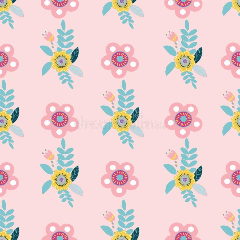 Modelo inconsútil de los adornos florales populares en colores pastel del vector libre illustration