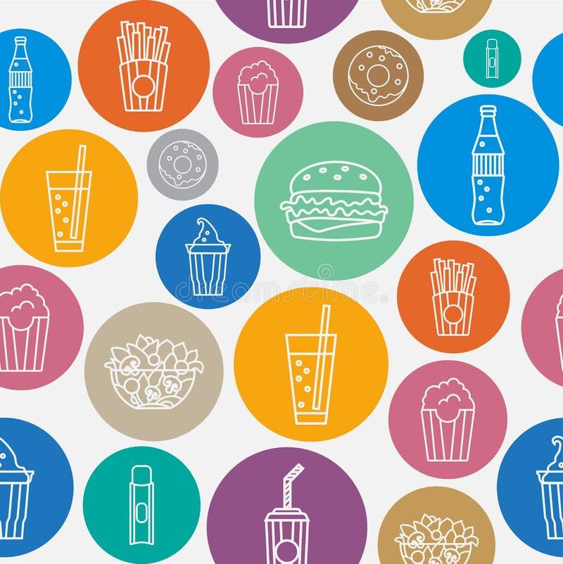 Modelo inconsútil de los alimentos de preparación rápida stock de ilustración