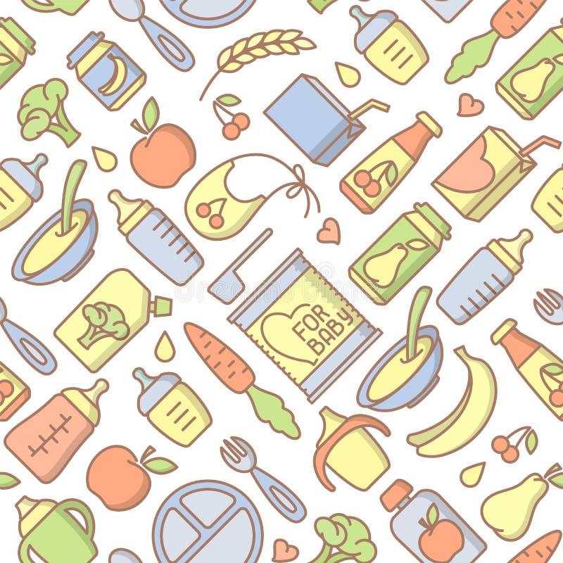 Modelo inconsútil de los alimentos para niños Ejemplo linear del vector del estilo ilustración del vector