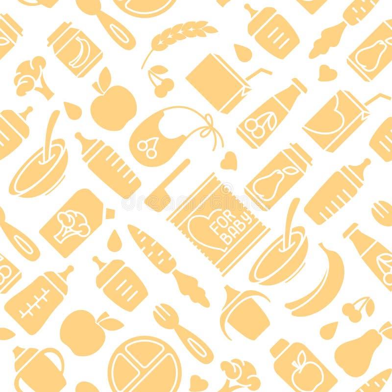 Modelo inconsútil de los alimentos para niños Ejemplo plano del vector del estilo stock de ilustración