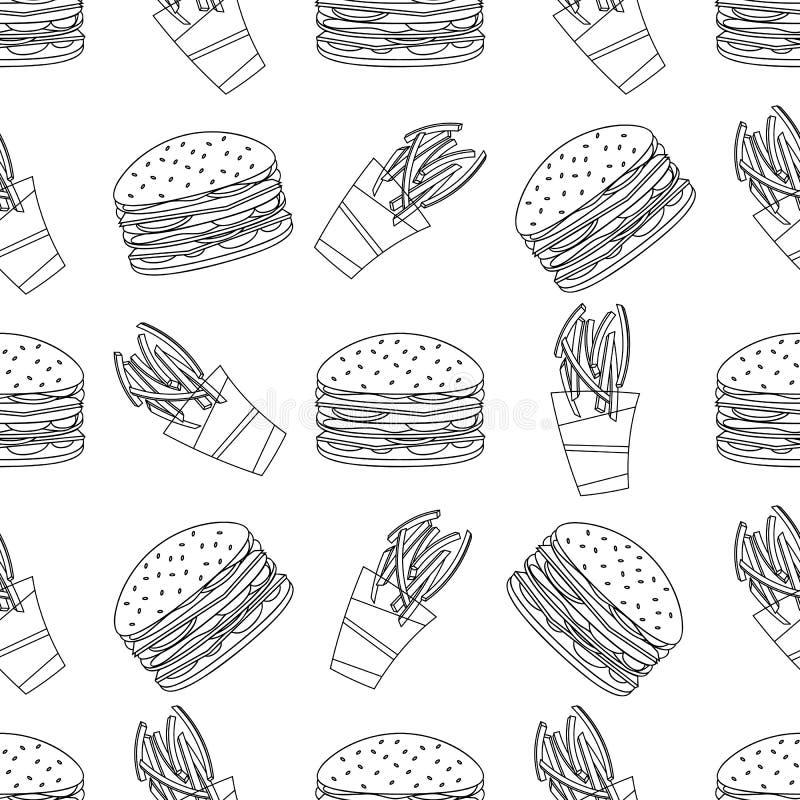 Modelo inconsútil de los alimentos de preparación rápida ilustración del vector