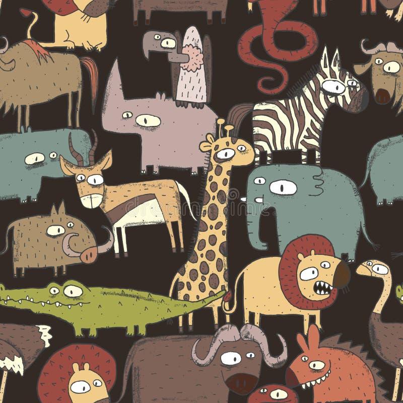 Modelo inconsútil de los animales africanos stock de ilustración