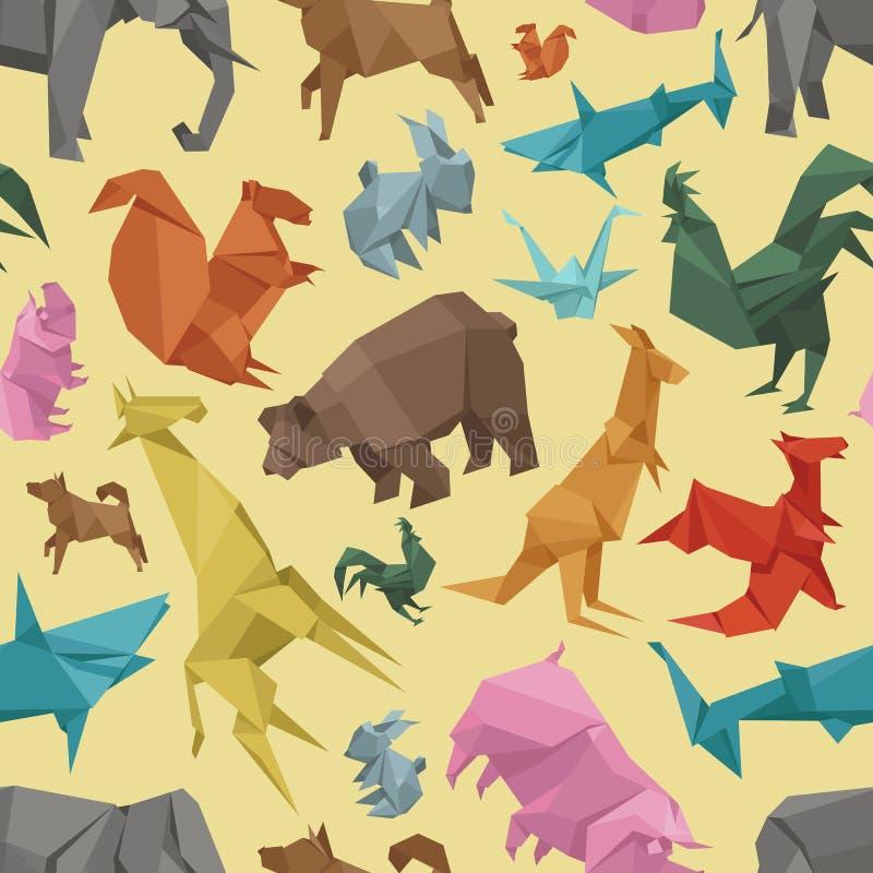 Modelo inconsútil de los animales de la papiroflexia de la decoración del ejemplo creativo de papel salvaje del vector ilustración del vector