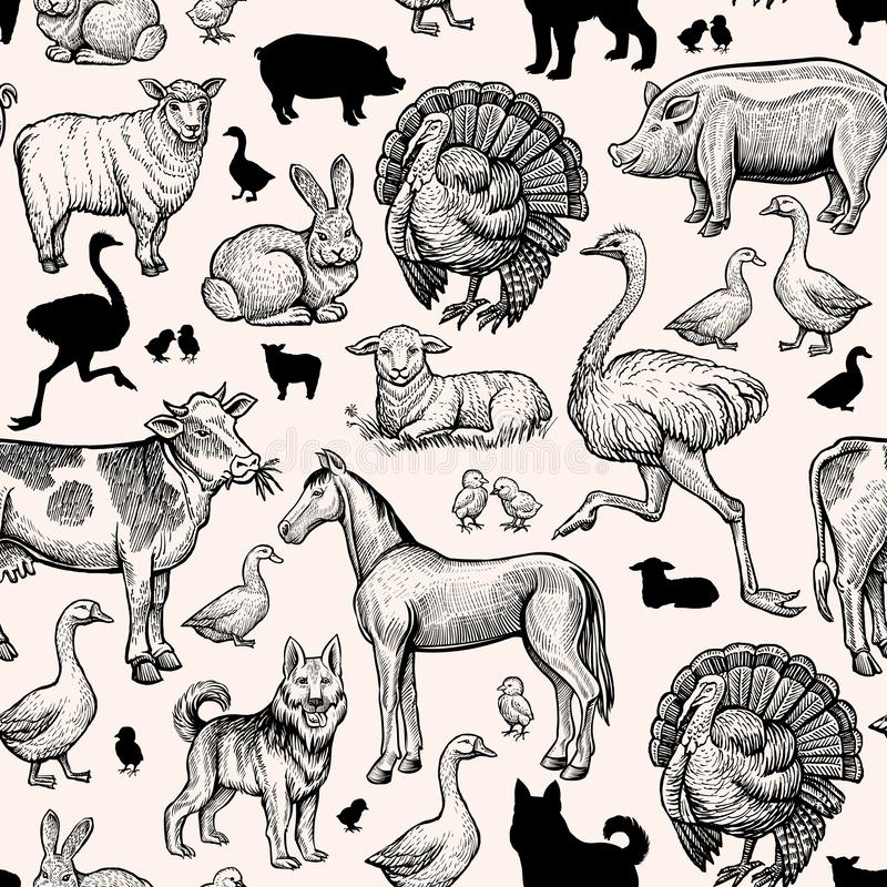 Modelo inconsútil de los animales del campo Vintage que graba el caballo, vaca y cerdo, pollo, pato y avestruz Turquía, cordero y stock de ilustración