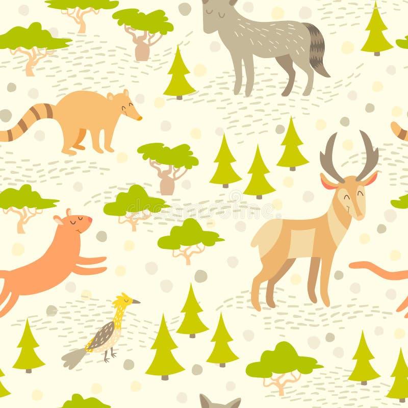 Modelo inconsútil de los animales lindos norteamericanos para los niños stock de ilustración