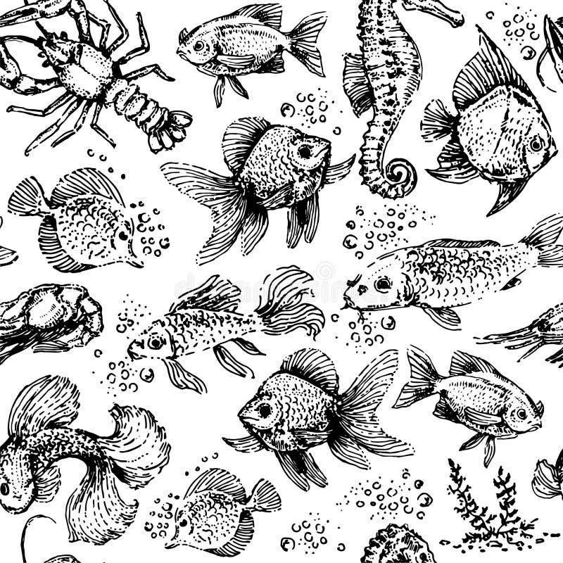 Modelo inconsútil de los animales de mar Ejemplo del vector de los pescados y de la langosta ilustración del vector
