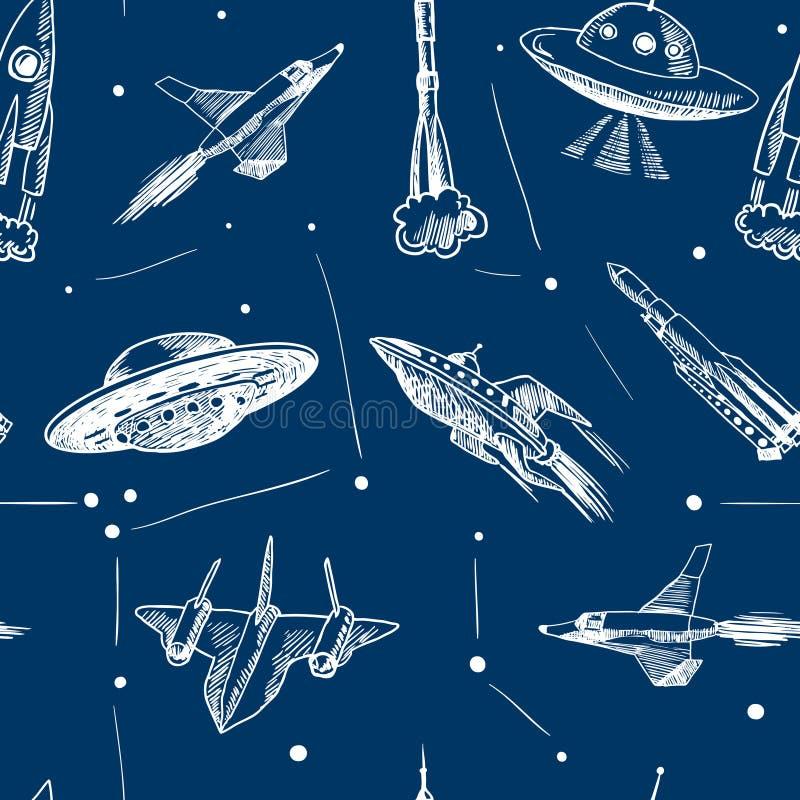 Download Modelo Inconsútil De Los Aviones Del Espacio Ilustración del Vector - Ilustración de mosca, militar: 42436043