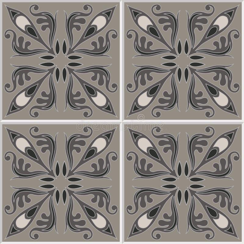 Modelo inconsútil de los azulejos Fondo del vintage - baldosa cerámica victoriana en vector stock de ilustración