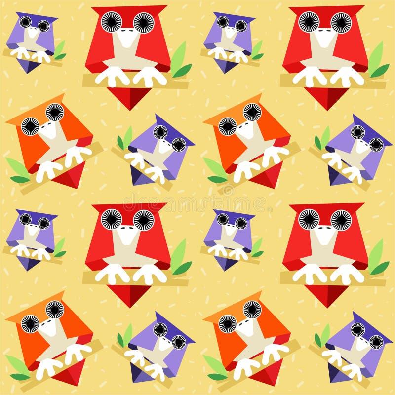 Modelo inconsútil de los búhos en un fondo adornado con confeti coloreado - vector libre illustration