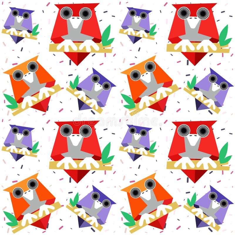 Modelo inconsútil de los búhos en un fondo adornado con confeti coloreado - vector stock de ilustración