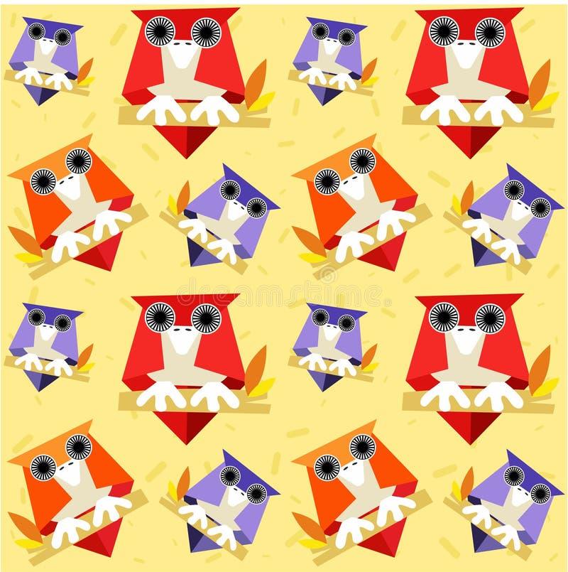 Modelo inconsútil de los búhos en un fondo adornado con confeti coloreado - vector ilustración del vector