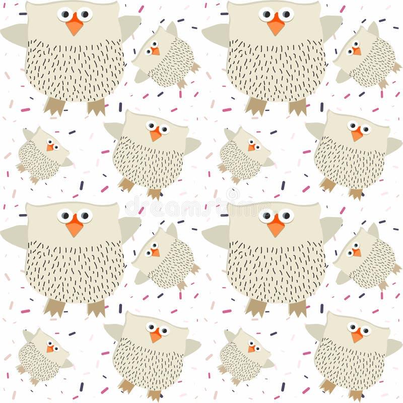 Modelo inconsútil de los búhos en un fondo adornado con vector coloreado del confeti libre illustration