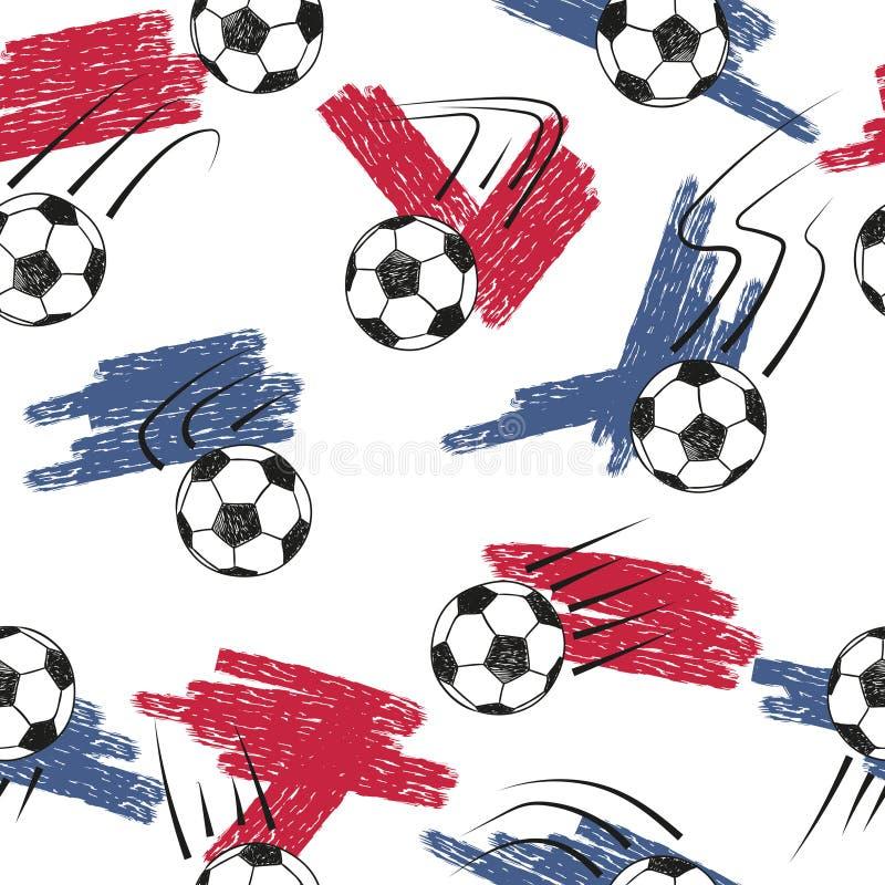 Modelo inconsútil de los balones de fútbol con las bolas y los colores de la bandera ilustración del vector