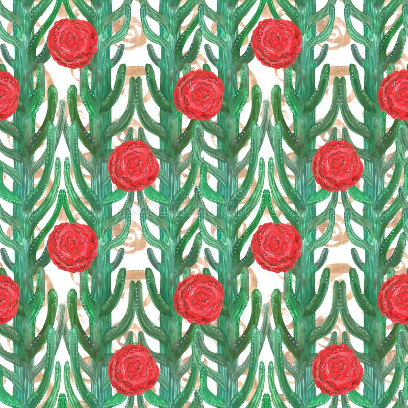 Modelo inconsútil de los cactus decorativos del aguazo y de las flores rojas ilustración del vector