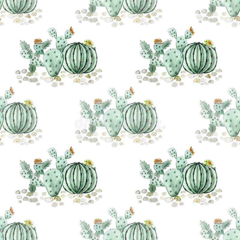 Modelo inconsútil de los cactus de la acuarela en blanco stock de ilustración