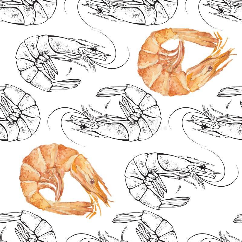Modelo inconsútil de los camarones Ejemplo blanco y negro w del contorno ilustración del vector