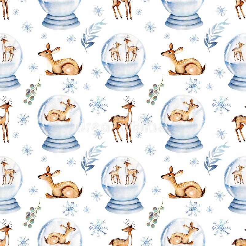 Modelo inconsútil de los ciervos lindos de la acuarela dentro de una bola de cristal nevosa de la Navidad ilustración del vector