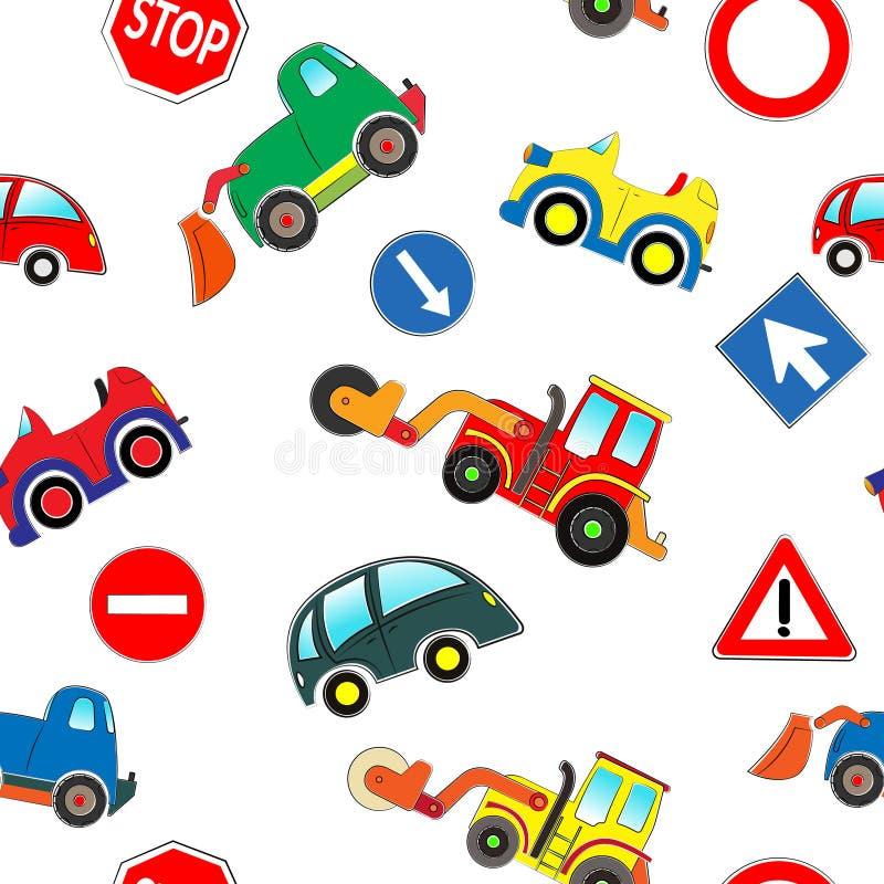 Modelo inconsútil de los coches de los niños stock de ilustración