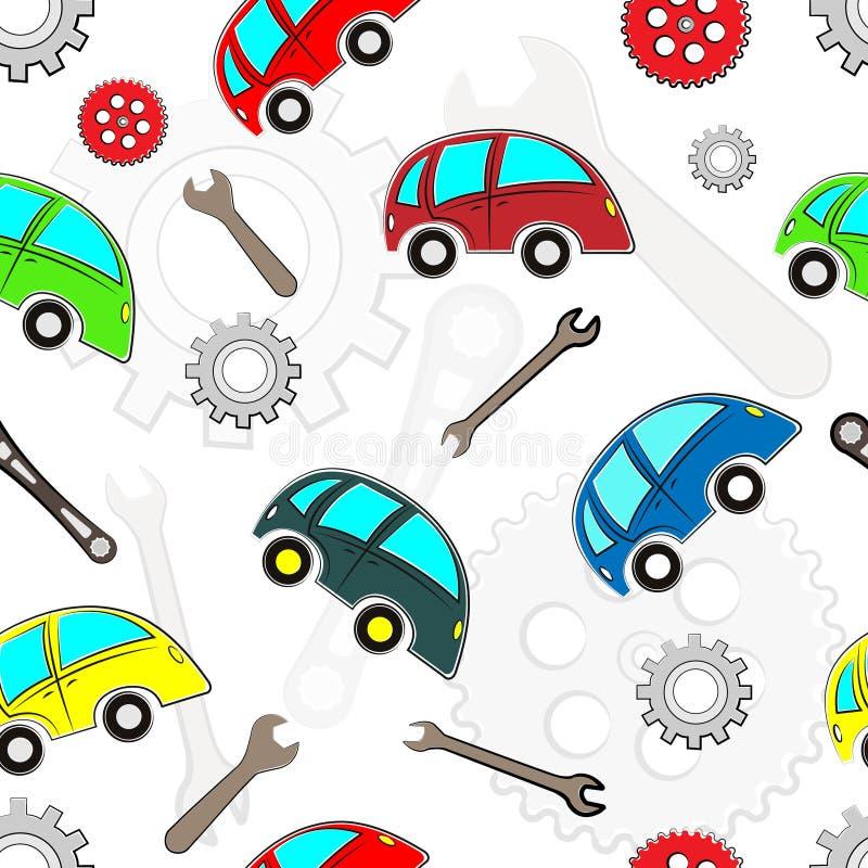 Modelo inconsútil de los coches de los niños con las herramientas ilustración del vector
