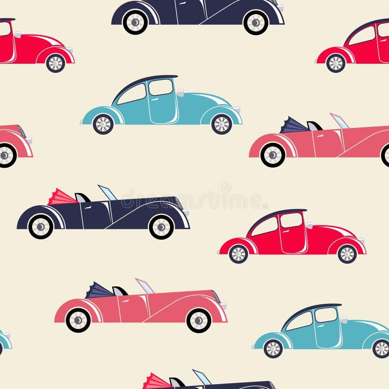 Modelo inconsútil de los coches retros stock de ilustración